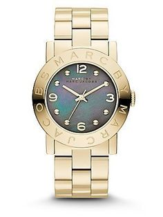 Marc by Marc Jacobs MBM3273 Amy Gold Watch with Grey Mother of Pearl Dial. #Fashion  #Watch