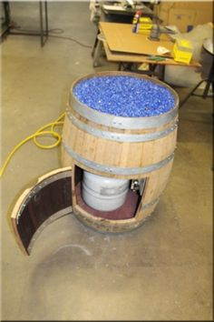 Wine Barrel Fire Pit fire Deep blue crushed tempered glass for fire pits fireplaces or fire tables. Fire Pit Table, Diy Fire Pit, Fire Pit Backyard, Diy Propane Fire Pit, Backyard Patio, Wine Barrel Furniture, Fire Pit Furniture, Wine Barrel Fire Pit, Wine Barrels