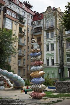 Giant stack of pillows. Peisazhnya alley, Kiev A photographic tour through the city of Kiev, with it's old history, friendly people, and cool new vibe, this is a must visit city.