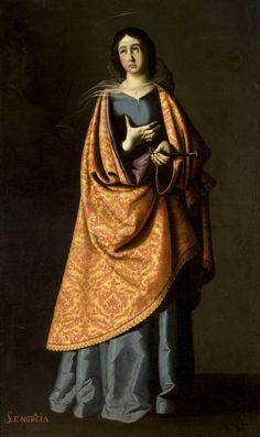 Sta Engracia de Zaragoza / St Engratia/1640-1650 // Anónimo/Taller de Francisco de Zurbarán/Museo de Bellas Artes de Sevilla/ Engracia (de Lusitania) fue martirizada por orden del emperador Dalciano. De paso por Zaragoza,el 16 de abril de 304,escoltada por caballeros y criadas, destino a Narbona,reprendió al emperador por su crueldad contra los cristianos.El emperador ordenó darle muerte,le abrieron el pecho y le atravesaron la cabeza con un clavo,siéndo además decapitados sus acompañantes.