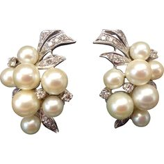 Outstanding Art Deco 1940s 1950s Diamond, Cultured Pearl and 14K Karat Gold Pierced Omega Clip Earrings