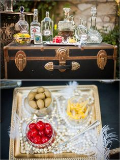 cocktail station on vintage trunk #roaring20wedding #cocktailstation #weddingchicks http://www.weddingchicks.com/2014/01/02/easy-roaring-20s-wedding-ideas/