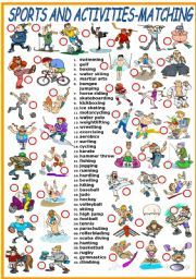 Vocabulary Worksheets > Sports SPORTS AND ACTIVITIES MATCHING cakepins ...