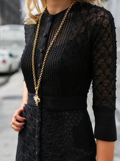 I love the mix of textures in the dress and necklace.
