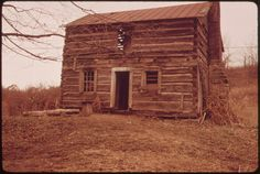 This Old Log Cabin Stands Adjacent to Land Being Stripped by the Ohio Power Company Off Route - Stock Image Abandoned Houses, Old Houses, Tree Houses, Log Cabin Homes, Log Cabins, Rustic Cabins, Still Picture, Photo Maps, Building Art