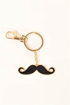 Mr. Mustache Key Chain - Gold