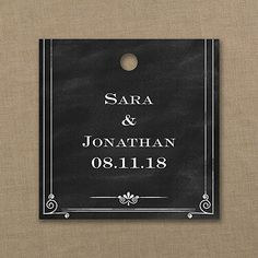 Your wedding will get an A+ for style when you accent favors, gifts and more with chalkboard design square favor tags. Black seals + white personalization = perfect score!