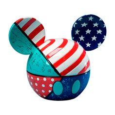 Porta Objetos Disney Cabeça do Mickey Colorido em Cerâmica - 13x10 cm