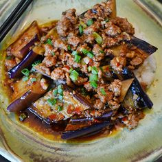 Ma Po Eggplant in Garlic Sauce Recipe - Spicy, stir-fried pork with ginger and garlic is a deliciously piquant foil for silky broiled eggplant Pork Recipes, Vegetable Recipes, Wine Recipes, Asian Recipes, Cooking Recipes, Chinese Recipes, Chinese Eggplant Recipes, Chinese Desserts, Healthy Recipes