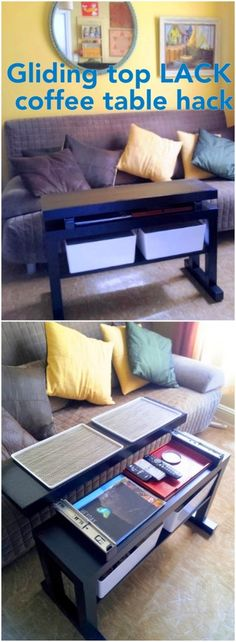 Gliding top cantilever LACK coffee table with bin lids that convert to TV trays - IKEA Hackers - IKEA Hackers
