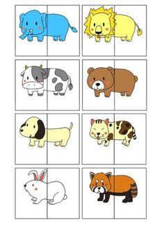 Puzzle: mitades | Mírame y aprenderás Preschool Learning Activities, Animal Activities, Preschool Worksheets, Infant Activities, Preschool Activities, Kids Learning, Activities For Kids, Kindergarten Learning, Teaching Kids