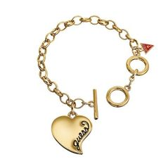 GUESS Engraved Heart Charm 19cm Bracelet in Gold Plated image-a