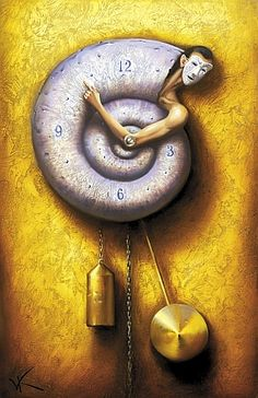 Contact with the present moment: Awareness of the here and now, experienced with openness, interest, and receptiveness. Hayes. Art: Spiral Of Time, Vladimir Kush