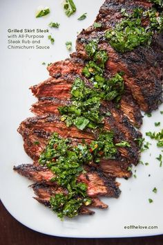 Skirt Steak Recipe with an all-purpose steak rub and chimichurri sauce. / Irvin Lin of Eat the Love. Skirt Steak Recipe with an all-purpose steak rub and chimichurri sauce. / Irvin Lin of Eat the Love. Grilling Recipes, Meat Recipes, Cooking Recipes, Healthy Recipes, Recipes Dinner, Sauce Recipes, Dinner Ideas, Healthy Food, Skirt Steak Recipes