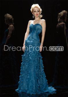 Graceful Strapless A-Line Floor-Length Belt Tiered Evening Dresses $194.09