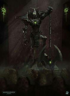 Alia Pulchra Es Necron lord by More<br> Warhammer 40k Necrons, Warhammer Models, Warhammer Fantasy, Dark Fantasy, Fantasy Art, Necron Army, Dark Eldar, Alien Concept Art, Fantasy Warrior