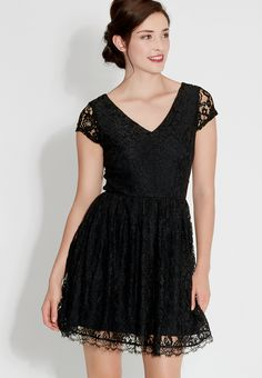 little black lacy dress with v-neck and open back - #maurices