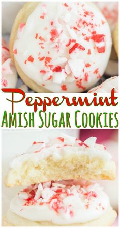 Melt-in-your-mouth sugar cookies, with a thick layer of peppermint icing, and crunchy peppermint pieces on top! Melt-in-your-mouth sugar cookies, with a thick layer of peppermint icing, and crunchy peppermint pieces on top! Amish Sugar Cookies, Chocolate Chip Shortbread Cookies, Toffee Cookies, Spice Cookies, Yummy Cookies, Chocolate Peppermint Cookies, Holiday Baking, Christmas Baking, Cookie Recipes
