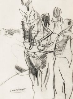 'Circus horse and Groom' by Laura Knight. Charcoal on paper.