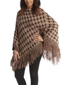 This Camel Houndstooth Poncho by SUE & KRIS is perfect! #zulilyfinds