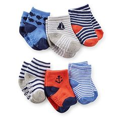 Carters Baby Boys 6 Pack Sailing Computer Socks Multi 12 24 Months