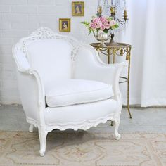 Shabby Cottage Chic White Linen Ornate Bergere Chair Armchair French Style  | Home & Garden, Furniture, Chairs | eBay!