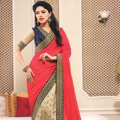 Red and Fawn Faux Chiffon and Net Saree with Blouse