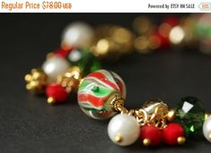 BLACK FRIDAY SALE Christmas Bracelet. Candy Cane Swirl Lampwork Glass Bracelet. Christmas Charm Bracelet. Holiday Jewelry. Christmas Jewelry by Gilliauna from Bits n Beads by Gilliauna. Find it now at http://ift.tt/2gqTv6G!