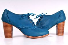 LACE. Leather oxford shoes / teal leather lace up boots / sizes US 4-13. Available in different leather colors.
