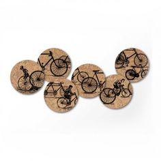 $12.95 recycled wine cork coasters - bike print