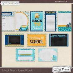 School Blues - Digital Scrapbook Journal Cards. $2.99 at Gotta Pixel. www.gottapixel.net/