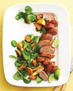 Sheet-Pan Suppers // Spicy Pork with Parsnips and Sweet Potatoes Recipe