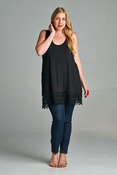 """""""Love In The South"""" Lace Plus Size Sleeveless Tunic"""