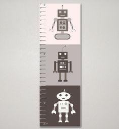 Robots Growth Chart, Kid's Room, Children's room, Nursery, Home Decor, Art Print, 10 X 30