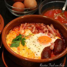 Huevos al plato con chorizo, baicon y queso l Recetas con horno