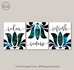 Bathroom Art Prints Relax Renew Refresh Abstract Floral  Set of (3) 5x7, 8x10 or 11x14, Blue Black, Modern Home Art Prints - Unframed