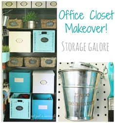 Office Closet Makeover - Storage Solutions from Not Just a Housewife.