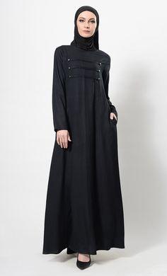 Modest Wear Pleated And Buttons Detail Abaya Dress And Hijab Set Modest Wear, Modest Outfits, Black Abaya, Kaftan Style, Female Armor, Hijab Dress, Pakistani Outfits, Skirt Fashion, Casual Wear