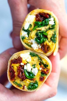 Packed with scrambled eggs, sun-dried tomatoes, spinach, and feta cheese, these healthier breakfast burritos are the perfect breakfast. Breakfast Toast, Breakfast Burritos, Perfect Breakfast, Breakfast Recipes, Breakfast Ideas, Breakfast Spinach, Dinner Recipes, Breakfast Sandwiches, Breakfast Dishes