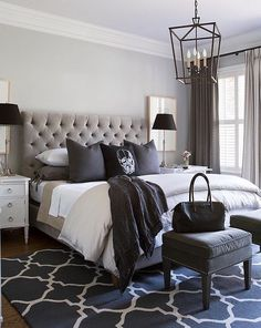 black and white bedroom ideas.  Black white and every shade in between Very cool bedroom by Sneller Custom Homes minus the skull pillow Beige is New 18 Ideas on How to Use Neutral Colors