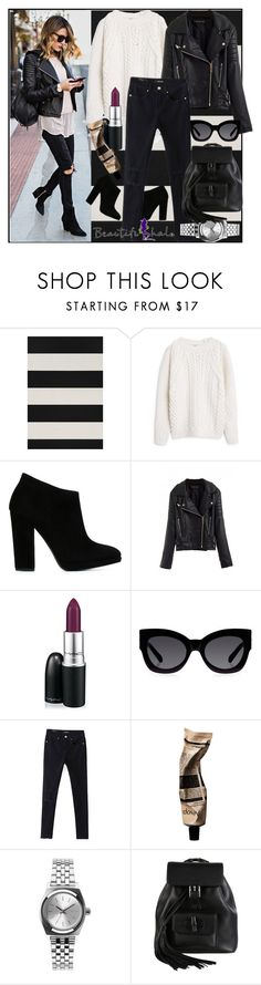 """Black is such a happy color."" by meliki ❤ liked on Polyvore featuring Chasing Paper, MANGO, Giuseppe Zanotti, MAC Cosmetics, Karen Walker, Aesop, Nixon and Gucci"