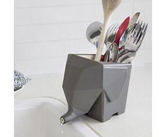 Elefánt origami konyhai evőeszköz tároló alsó kifolyóval. Fürdőszobai fogkefe tárolóként is remek!