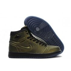 outlet store f65aa 8a437 Pas cher Nike Chaussures Air Jordan 1 Anodized Chaussures Hommes Or Armure  Noir