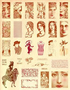 "Bold fashion women, victorian and art nouveau fancy wild dream domino dominoes rubber stamps fits 1""x2"""