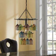 Hanging wine glass holder/ lamp. It's interesting...