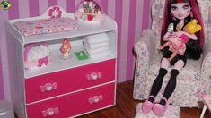 Como fazer cômoda trocador para bêbe de boneca Monster High, Barbie, MLP...