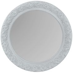 Belle Maison Floral Round Wall Mirror ($40) ❤ liked on Polyvore featuring home, home decor, mirrors, grey, horizontal mirror, ornate mirror, floral mirror, grey home decor and grey mirror