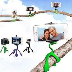 Wallmart.win New Style Mini Tripod Mount Portable Flexible Stand Holder Multi Function Phone Camera Stand Gecko Spider Stent For All Phones
