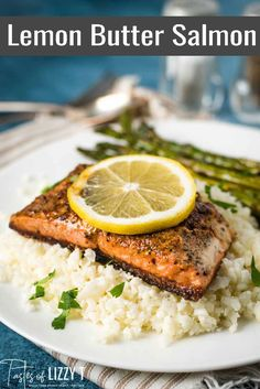 This Lemon Garlic Butter Salmon will melt in your mouth! Pan fried salmon is golden brown with amazing flavor. This low carb dinner recipe is ready in under 30 minutes. #lowcarb #salmon #paleo #whole30