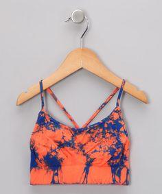 I wish this came in my size!   Neon Orange & Blue Tie-Dye Sports Bra by Malibu Sugar on #zulily today!